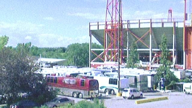 The McMahon Stadium parking lot has been transformed into a temporary RV park for Stampede visitors
