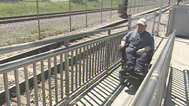 Steve Gratton uses the ramp at the Heritage CTrain Station regularly.