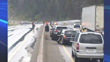 A mud slide has stopped traffic west of Banff. (Photo Courtesy: John Molberg)