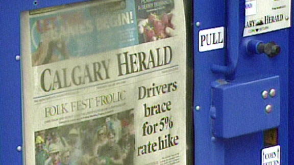 About 62 jobs at the Calgary Herald are being shed because of a change in their printing process.