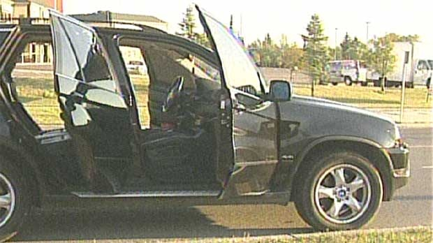 The BMW SUV targeted in an early morning shooting in an industrial area near Westwinds Dr N.E.