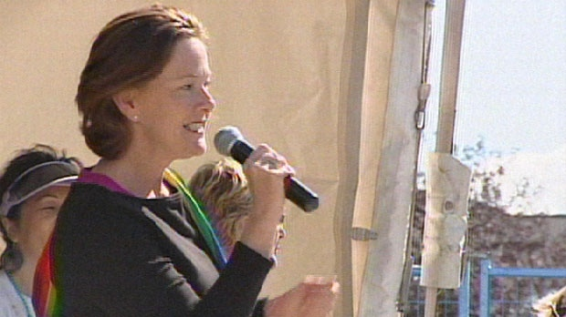 Premier Alison Redford addresses the crowd at Pride Calgary 2012
