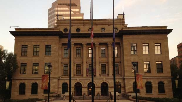 Flags have been lowered to half-mast at the MacDougall Centre in Calgary in memoriam of the death of Peter Lougheed.