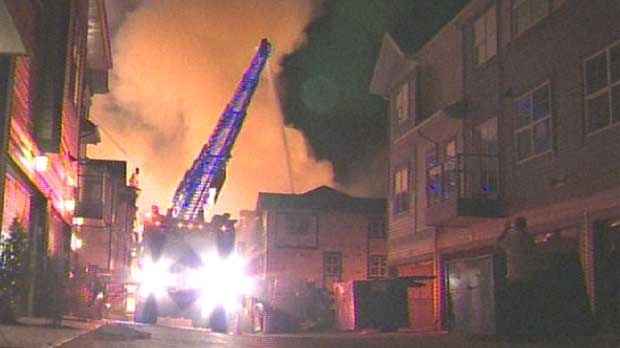 Three condo complexes burned on Sunday and police are looking for a group of youths wanted for questioning in connection to the fire.