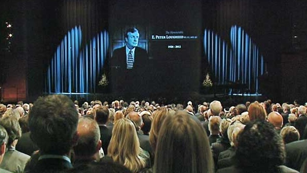 Thousands pack into the Jubilee for the state memorial for Peter Lougheed.