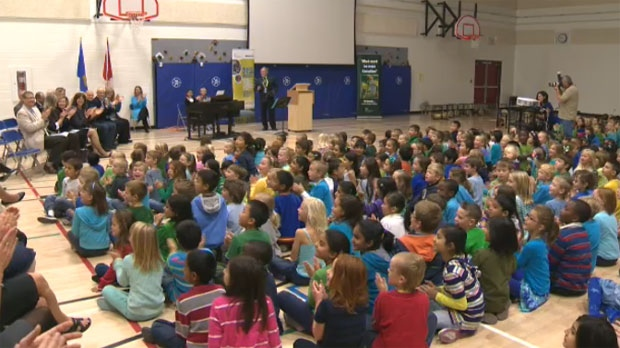 Students at Royal Oak School were honoured for their environmental contributions at an October 5 ceremony