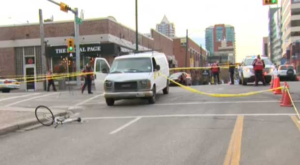 Cyclist hit by van in downtown